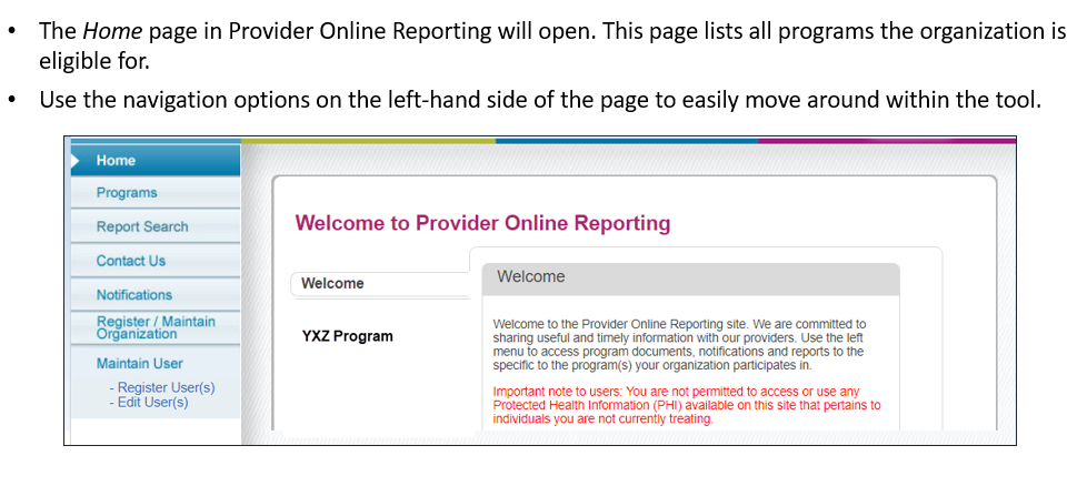 Provider Online Reporting2