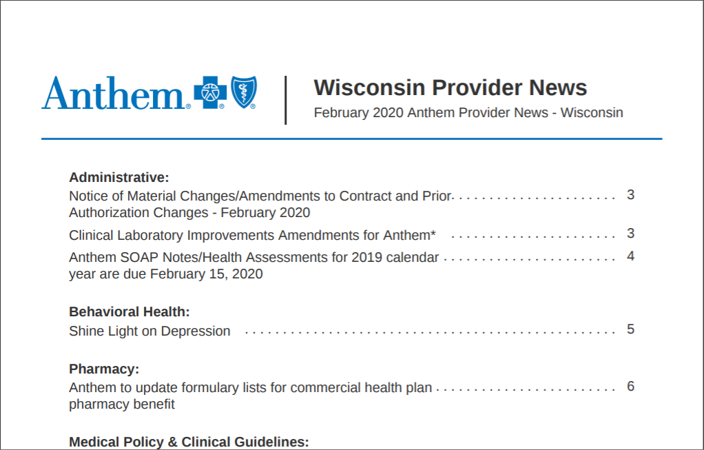 Wisconsin newsletter with new format