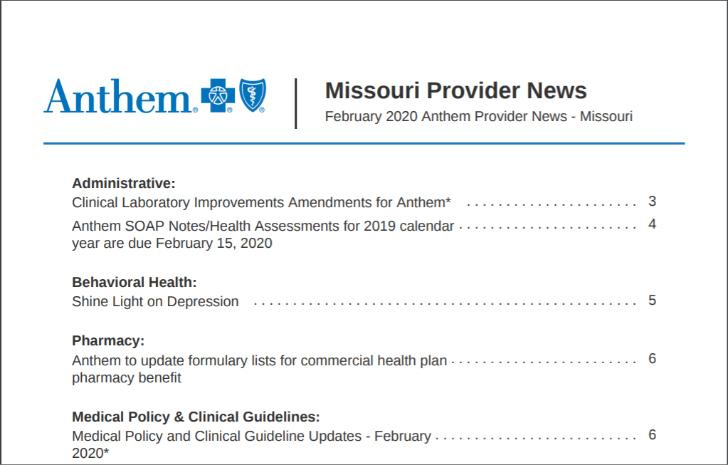Missouri newsletter with new format