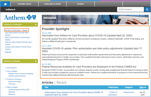Indiana Provider News page