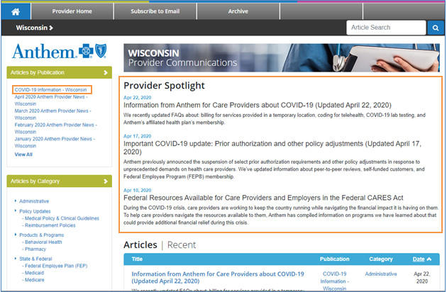 Wisconsin Provider News page